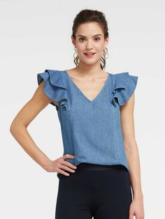 Chambray Ruffle Top - chambray - 0 in chambray by Draper James Modest Dresses, Casual Dresses, Fashion Dresses, High Collar Blouse, Stylish Work Outfits, Looks Plus Size, Weekend Outfit, Denim Top, Look Fashion