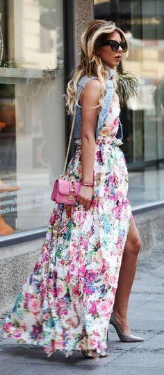 Denim + Maxi Floral Dress                                                                             Source