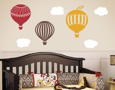 Hot Air Balloon Wall Decals, Childrens Wall Decals, Nursery Wall Art, Hot Air Balloon Wall Stickers, Large Size by TweetHeartWallArt on Etsy https://www.etsy.com/listing/57844011/hot-air-balloon-wall-decals-childrens