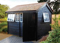 Black shed with cedar shingles Studio Shed, Garden Studio, Summer House Paint, Black Shed, Painted Shed, Garden Cabins, Garden Cottage, Workshop Shed, Backyard Farming
