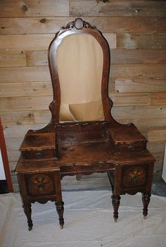 antique vanity makeover, painted furniture, rustic furniture, This was in pretty rough shaped when we picked it up