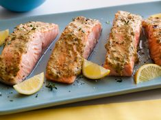 Broiled Salmon with Herb Mustard Glaze Recipe : Giada De Laurentiis : Recipes : Food Network Salmon Recipes, Fish Recipes, Seafood Recipes, Great Recipes, Favorite Recipes, Salmon Food, Simple Recipes, Yummy Recipes, Dinner Recipes