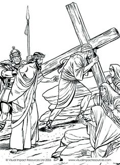 Jesus at the cross. Bible coloring page
