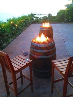 Reclaimed Wine Barrel Fire Pit by NorCalBarrelWorks on Etsy Fire Pit Landscaping, Fire Pit Backyard, Landscaping With Rocks, Landscaping Ideas, Backyard Kitchen, Wine Barrel Fire Pit, Wine Barrels, Wine Barrel Table, Outdoor Fire