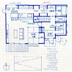 . #kazuhaマイホームプランニング . #南玄関 1階約18坪。 . こうやって何回も間取りを書くと、 本当に自分のやりたいことがわかってスッキリします . 和室は4.5畳にして、床上げして収 - kazuha.home