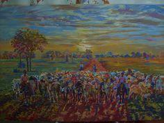 """Obra de arte, artista Pedro Gentil, """"Paisaje del Llano """", Venezuela, estado Anzoátegui, considerado paisajista Venezolano, con estudios en Paris y exposiciones."""