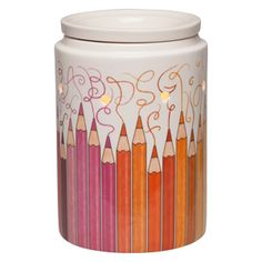 #Scentsy Colorgraphy Colored Pencils Warmer.  The colored scribbles are every shade of the rainbow, all around this darling warmer.  Perfect teacher gift, artist gift, or even for your office!  Buy online at https://sattler.scentsy.us