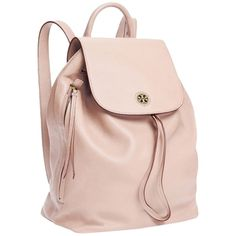 Pre-owned Tory Burch Brody Leather New With Tag Backpack ($347) ❤ liked on Polyvore featuring bags, backpacks, light oak beige pink nude, pink bag, leather rucksack, leather bags, beige leather bag and genuine leather bag