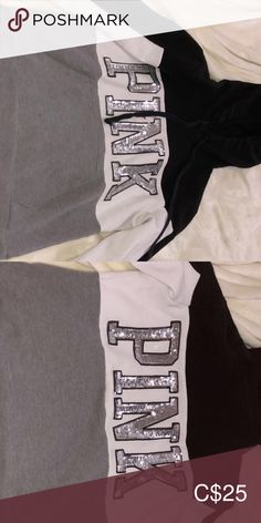 Pink Hoodie Grey, black and sliver sequins  Great condition  Barely wore PINK Victoria's Secret Tops Sweatshirts & Hoodies