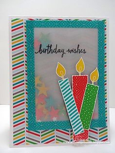 Deb's vellum shaker card with Build a Birthday, Cherry on Top dsp stack & washi tape, Itty Bitty Accents stars punch, & more - all from Stampin' Up! by jordan Bday Cards, Kids Birthday Cards, Handmade Birthday Cards, Diy Birthday, Washi Tape Cards, Shaker Cards, Creative Cards, Kids Cards, Cute Cards
