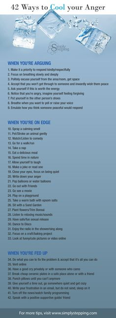 42 Ways to Cool Your Anger When you're ready to explode, or on edge, or a bit stressed out, Find Simple Steps to cooling the fire inside Stress can kill you! Meditation, Therapy Tools, Emotional Intelligence, Stress Management, Anger Management Quotes, Anger Management Techniques, Good Advice, Self Development, Stress Relief