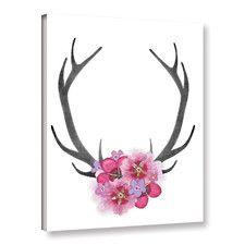 Antlers & Pink Flowers Canvas Print