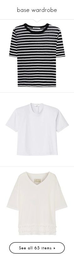 """base wardrobe"" by yuliaexe ❤ liked on Polyvore featuring tops, t-shirts, black gold, metallic gold t shirt, balmain t shirt, tailored t shirts, layered tops, layering tees, shirts and tees"