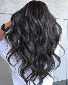 Hair Color Balayage, Hair Highlights, Black Balayage, Color Highlights, Hair Color For Black Hair, Brown Hair Colors, Chocolate Brunette Hair, Long Dark Hair, Short Hair