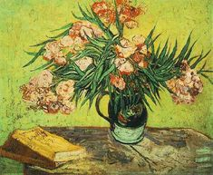 Vincent van Gogh: Still Life: Vase with Oleanders and Books (1888)-世界名画-梵高,静物