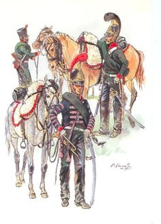 Chasseurs à Cheval 1st Regiment, distinctive in that they alone wore crested helmets instead of shakos or busbies.