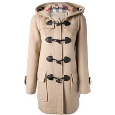 Burberry Brit Hooded Coat (£620) ❤ liked on Polyvore featuring outerwear, coats, jackets, hooded wool coat, burberry, camel wool coat, wool coat and hooded toggle coat