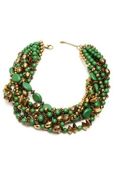 """- 18K gold plated and evergreen resin mixed bead torsade necklace  - Lobster clasp  - Approx. 22"""" necklace length with 2"""" extension  - Imported"""