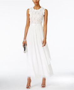 R & M Richards R & M Richards Sequined Lace and Chiffon Gown