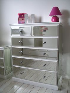 Mirrored Chest-of-drawers, love the lamp too