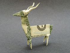 DEER Money Origami  Dollar Bill Art  Buck by VincentOrigamiArtist