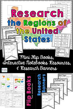 Regions of the United States Research Flip Book, Banners, & Interactive Journals  Your students will enjoy learning about regions of the United States with this interactive packet.   Regions of the United States:  Northeast, Midwest, Southeast, West, Southwest,   The packet has 3 components:  Mini Flip books: Students construct a flipbook that they use while researching the regions of the United States.   Interactive Notebook Foldables: Printable foldables for each of the regions that…