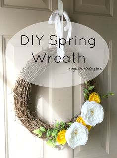 This easy DIY spring wreath is a perfect way to bring the colors of spring inside. Craft. It takes about 30 minutes from start to finish.