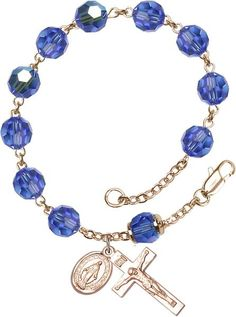 14 Karat Gold Rosary Bracelet features 8mm Sapphire Swarovski, Capped Our Father…