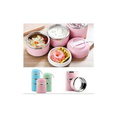 1/2/3 Layers Thermal Insulated Lunch Box ($7.79) ❤ liked on Polyvore featuring home, kitchen & dining, food storage containers, white, colored food storage containers, thermo lunch box, thermal food storage containers and picnic lunch box