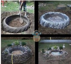 Little pond out of tractor tire!Easy diy old tractor tire rock fish pondGenius idea I think I'll grab our bad tractor tire and expand my pond!Earth friendly Pond via reduce, re-use and recycling an old tractor tire.Make a garden pond with a tractor tire Ponds Backyard, Backyard Landscaping, Backyard Ideas, Pond Ideas, Outdoor Fish Ponds, Outdoor Fountains, Outdoor Projects, Garden Projects, Easy Projects