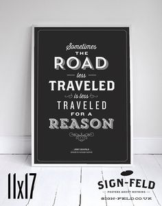 The Road Less Traveled Poster 11x17 - Seinfeld Quote Print - Vintage Retro Typography #signfeld #seinfeld #quote #design #typography