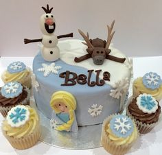 Frozen themed Birthday cake and matching snowflake cupcakes!  Order now from www.acupfulofcake.co.uk. I am based in Leek, Staffordshire and deliver to Stoke, Newcastle under Lyme and surrounding areas!