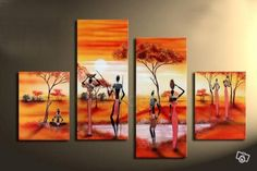 Tribal housewives working. Price: $389.00 Shipping: Free Shipping Size of Parts: 30cm x 80cm x 2 panels + 30cm x 50cm x 2 panels Total Size (W x H): 120cm x 80cm Delivery: 14 - 21 Days Framing: Framed & Ready to Hang! http://www.directartaustralia.com.au/