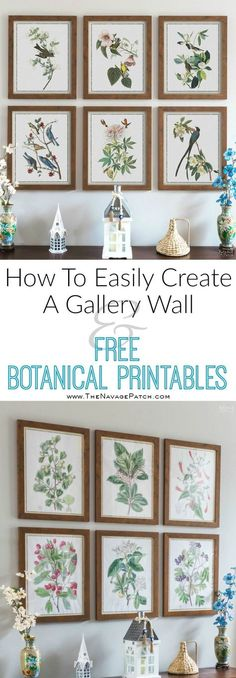 How to Easily Create a Gallery Wall and Free Botanical Printables