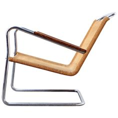 Bas van Pelt; Chromed Tubular Metal, Sisal and Ebonized Wood Lounge Chair, 1930s.