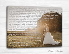 RockinCanvas Wedding Vow Art Wedding Vows Wedding Vow Keepsake Anniversary Gift Gift for Groom Gift for Bride 5th Anniversary Gift Cotton Gift. This is a Museum Quality Canvas Giclée print, not a plain paper or a poster. The art work is created on a poly-cotton canvas and is coated with Protective Varnish. All canvases are produced by hand from start to finish in our Shop. The colors are very rich and vibrant and the detail is superb. Get a Custom Canvas Print with any Words on it…