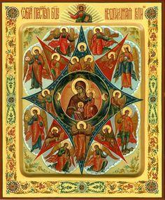 Our Lady of the Unburnt Bush Byzantine Icons, Byzantine Art, Religious Images, Religious Art, Orthodox Catholic, Christian Mysticism, Esoteric Art, Queen Of Heaven, Japanese Artwork