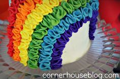 Rainbow cake - great ruffles made with a blossom cutter