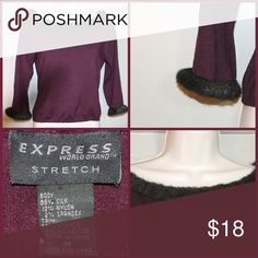 EXPRESS Dark Purple Sweater with faux fur trim EXPRESS faux fur trim sweater really pretty would be great for holiday parties or dinners but also work appropriate Express Sweaters Crew & Scoop Necks