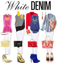 White jeans outfit (Pink, Gold, Stripes, Red, Blue, Denim)