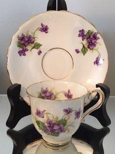 Vtg Tea Cup Saucer Set Stanlet Bone China England Demi Violet Demitasse | eBay