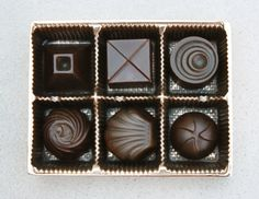 Set of Six Chocolates and Tray in Patinated and polished Bronze. The pieces in this unique set can be used together or individually as paperweights. Signed limited edition of only Ten. Bedside Clock, Table Accessories, Chocolate Box, Paper Weights, Art Pieces, Bronze, Chocolates, Sculpture, Tray