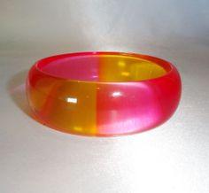 Vintage Translucent Pink and Orange Lucite Bangle Bracelet