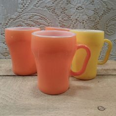 Anchor Hocking Fire King Milk glass soda mugs cups set of 4