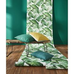 Papier peint TROPIK Vinyle sur Intissé motif tropical, Vert trèfle - Les papiers peints motif végétal - Peinture et Papier Peint -