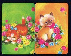 Vintage Swap Cards - Cute Kittens & Flowers x 2  eBay