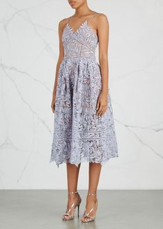 Laelia lilac guipure lace midi dress
