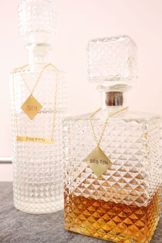 #forJ Stamped metal tags for glass decanters-so pretty! (click through for tutorial)