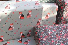 Double Sided Wrapping Paper. PACK OF 5 SHEETS: Fox and Floral Wrap by Nikkipea on Etsy https://www.etsy.com/listing/180282888/double-sided-wrapping-paper-pack-of-5
