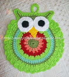 Crochet Potholders only Owl Crochet Patterns, Crochet Owls, Crochet Potholders, Knit Or Crochet, Crochet Animals, Crochet Motif, Crochet Kitchen, Crochet Home, Crochet Crafts
